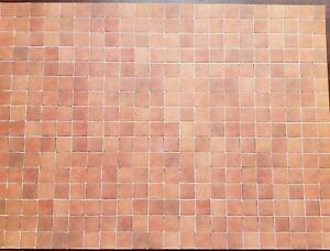 Dollhouse Miniature Terra Cotta Tile Square Embossed Card 1:12 Scale Flooring