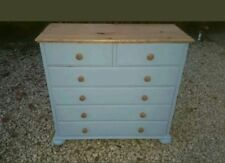 HAND PAINTED 2 OVER 4 LARGE SOLID PINE CHEST OF DRAWERS IN COLOUR OF GRAY DOOR