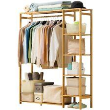 Large Bamboo Clothing Garment Rack Hanging Stand Shoe Storage Organizer Shelf