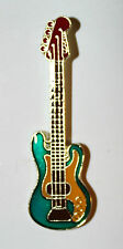 Green Electric Bass Guitar Band Music Lapel Hat Pin Melody Tie Tac Biker