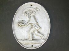 Vintage Cast Aluminium Fire Mark Fireman Firefighter Memorabilia Wall Plaque