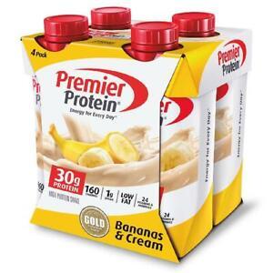 Premier High Protein Shake Bananas & Cream 30g Protein Energy Drink Shake 4 Pack