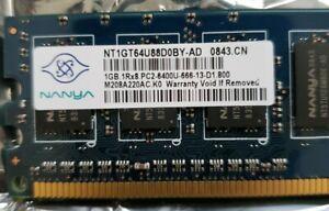 Nanya NT1GT64U88D0BY-AD DDR2 1GB PC2-6400 Non ECC 800Mhz Desktop RAM Memory