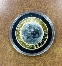 {BJSTAMPS} 2000 GOLD & TITANIUM ISLE OF MAN BI-METAL 1/2 CROWN MERIDIAN CLOCK