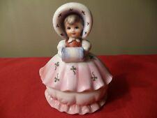 VTG. Ceramic Girl w Muff & Shamrock Dress Figurine~ Royal Crown Trinket Box~Xmas