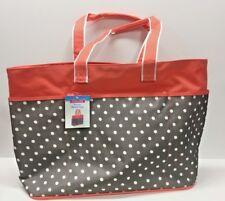 NEW - Polka Dot Jumbo XL Shopping Beach Tote Bag - Peach Gray
