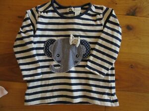 H&M Baby girls long sleeved top Elephant and bow - Size 4-6 months