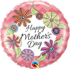 """MOTHER'S DAY PARTY SUPPLIES 18"""" FLORAL CHEVRON QUALATEX ROUND FOIL BALLOON"""