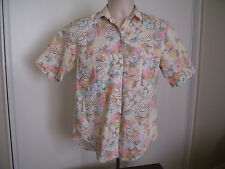CHEROKEE Blue Pink Floral Button Front Women's Shirt Top SS Size SMALL
