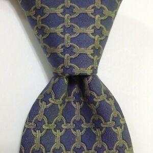 HERMES 59 EA Men's Vintage 100% Silk Necktie FRANCE Luxury Geometric Blue/Green