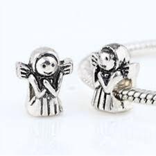 Silver Angel Charm, Large Hole Charm Bead, European Angel Charm, Charm Bracelet