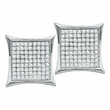 10k White Gold Womens Round Diamond Square Kite Cluster Stud Earrings 1/10 Cttw
