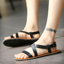 Men's Black Roma Open Toe Strap Flat Buckle Summer Shoes Beach Sandals US Size