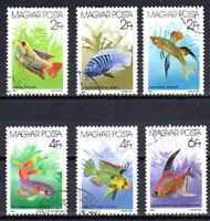 Peces Hungría (1) serie completo de 6 sellos matasellados