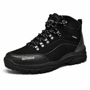 Mens Waterproof Leather Hiking Work Boots Snow Outdoor Warm Sneaker Winter Shoes