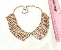 Peach diamante necklace jewellery set rhinestone prom bridesmaid bling 0576