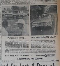 1963 newspaper ad for Plymouth - Performance Champ in Riverside CA showdown