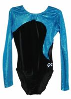 NWT GK Elite Gymnastics Long Sleeve Leotard Rich Blue Black Velvet Adult Small