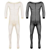 Men's Bodysuit Sheer NYLON bodystocking Jockstrap Underwear Jumpsuits Lingerie