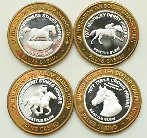 .999 Fine Silver Set of 4 Different Palms Seattle Slew $10 Silver Strikes