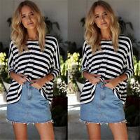 Fashion Women Striped Short Bat-wing Sleeve Loose Casual T-shirt Tops Blouse