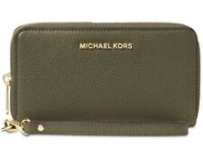 New Michael Kors Mercer Large Flat Multi Function Phone Case olive zip leather