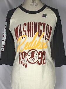 Washington Redskins NFL Junk Food Raglan Baseball Tee Women's T-Shirt MEDIUM