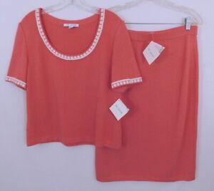 St. John Santana Knit 2 Piece Set Coral White Sweater M and Skirt12 - $630 NWT