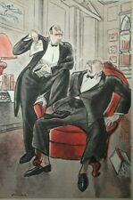 Butler wins the Lottery & Steps on Employer antique colour print c. 1940