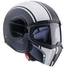 CASCO CABERG GHOST LEGEND NERO OPACO BIANCO VINTAGE CAFE RACER TAGLIA XS