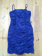 WHISTLES Stunning Ruched Blue Mini Dress @ Size 12 Cocktail Party Evening