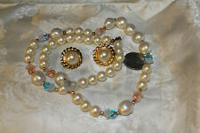 VINT FAUX PEARL/BLUE&PINK GLASS BEADS NECKLACE+BUTTON FAUX PEARL CLIP EARRINGS