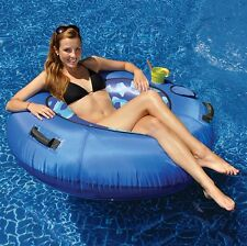 SWIMLINE SUMO FABRIC COVERED BLUE RIVER TUBE FLOAT POOL LAKE CUP HOLDER 48 INCH