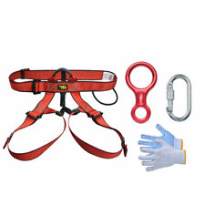 Pro Rock Climbing Gear Kit Equipment - Harness,Belay Descender, Carabiner Gloves