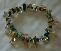 TURQUOISE AND CITRINE CHIP BEAD HEALING CRYSTAL BRACELET