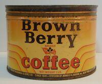 Old Vintage 1950s BROWN BERRY KEYWIND COFFEE TIN 1 POUND ARNOLD ABORN NEW YORK