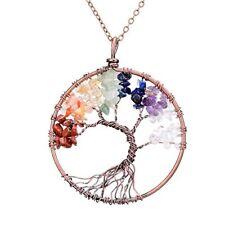 Pendant Necklace GEMSTONE Jewelry Gift Four Seasons Tree of Life Wisdom Ancient