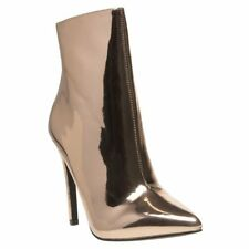 New Womens Public Desire Metallic Pink Harlee Synthetic Boots Ankle Zip