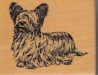 "mop dog psx Wood Mounted Rubber Stamp  1 1/2 x 2""  Free Shipping"