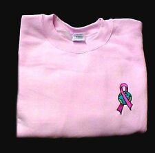 Breast Cancer Sweatshirt M Awareness Ribbon Earth Embroidery Crew Neck Pink New