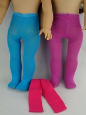 Set of 3 Pairs of Pantyhose in Purple, Pink & Blue for 18 Inch Dolls