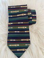 Paolo Gucci Mens Tie Necktie Belt Buckle Green Red Navy Gold 100% Silk EUC