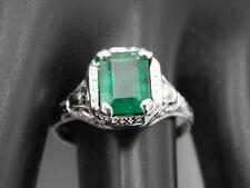 Art Deco Filigree Ring Large 1.88 ct AAA+ Colombian Emerald F2 Engagement 10k WG