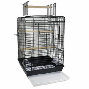 Bird Metal Cage for Parakeet cockatiel Parrot Wood Perche Food Cup Top Open Play