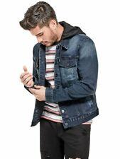 1c7be81a GUESS Factory Men's Vertix Hooded Super Stretch Denim Jacket