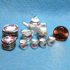 Dollhouse Miniature Dinnerware Set with Plates & Teapot & more 17 Pcs MT721