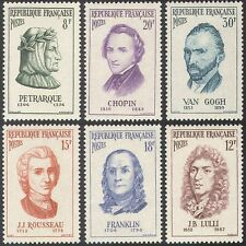 FRANCIA 1956 UOMINI FAMOSI/Persone/Scrittori/compositore/Artisti/CHOPIN/VAN GOGH 6v n33244