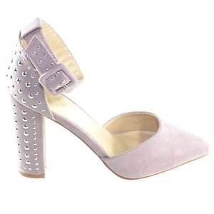 Decollete' aperto scarpe donna a punta in camoscio rosa con tacco rotondo borchi