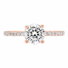 1.64ct Round Cut Accent Promise Engagement Wedding Bridal Ring 14K Rose Gold