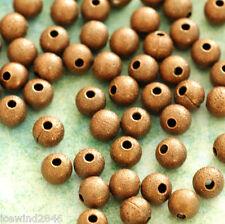 50pcs Antique Copper Stardust Round Beads 4mm